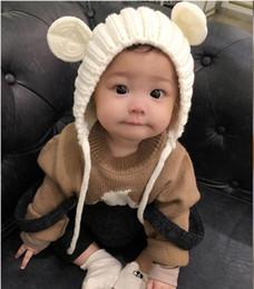 Knitting Warm Hats Winter Cute Bear Ears Hats Baby Outfits Newborn baby pop Crochet HATS 5PCS