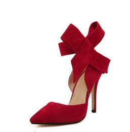 Grüne sandalen für frauen online-Großhandel hochhackige Schuhe mit Schmetterlingspunkten plus Größenhochzeitsschuhe mit Sandalen der Bogenfrauen rot / blau / grün / schwarz / rosa plus