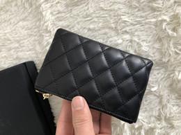 Canada Hot vente célèbre marque Véritable cuir d'agneau / caviar portefeuilles en cuir Femmes diamant classique porte-clés boucle porte-cartes portefeuille Offre