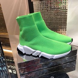 2019 alta scatola rotonda alta qualità Calze moda uomo e donna scarpe sportive Designer stivali in maglia elastica di grandi dimensioni 35-46 stivali amanti scarpe nere scarpe verde grigio