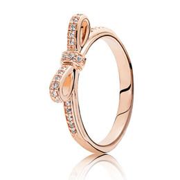 c95dc0b71 NEW Fashion Cute 18K Rose gold Bow CZ Diamond Rings Original LOGO box For  Pandora 925 Silver Bowknot Gift RING