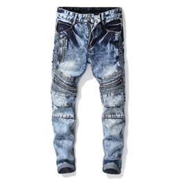 Canada Pas cher plier les jeans mens biker jeans hommes pantalons Droite personnalité zipper mâle pantalons en denim masculino moto designer de mode cheap cheap jeans zippers Offre