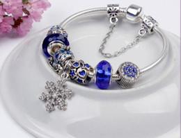 Branelli di fascino adatti per gioielli Bracciali in argento 925 ciondolo fiocco di neve braccialetto blu cielo zucca carrello gioielli fai da te cheap bead snowflake blue da fiocco di neve di faggio blu fornitori