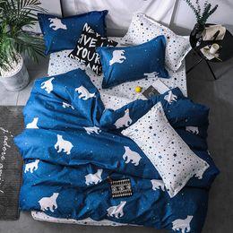 juego de cama de oso Rebajas 2019 New Bear Bulldog Juegos de cama de dibujos animados Ropa de cama para niños Juego de funda nórdica King completo Queen Twin sin edredón Textiles para el hogar