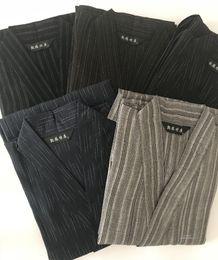 44e038cbe9 Plus size XL Traditional Japan Kimono Yukata Mens Cotton Dressing Gown Male  Lounge Robes with Belt Summer Pajamas set A9091