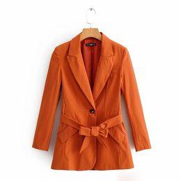 Casaco de laranja cor mulheres on-line-2019 Outono Moda Feminina OL Commuter Centennial Matching Belt Suit Jacket Solto Costura Cor Sólida Laranja