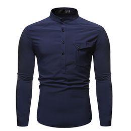 vestido formal mandarin Desconto New Mandarin colarinho da camisa vestido formal MarKyi outono para homens 2019 bolso marca camisa de algodão ajuste fino
