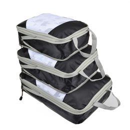 2019 kompressionstaschen zum verpacken QINYIN Handliche Compression Packing Cubes 3 teile / satz Reisetasche Speicherorganisator Set Taschen Schuh Gepäck Koffer Kleidung Organizer günstig kompressionstaschen zum verpacken