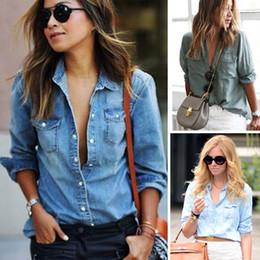 2019 женские джинсы с длинными рукавами Новая мода женщины футболка Женская одежда Жан джинсовая с длинным рукавом топы женская повседневная одежда женский дешево женские джинсы с длинными рукавами