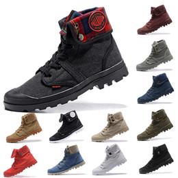 2020 sapatos de lona casais Atacado Botas de Lona Paládio Sapatos Dos Homens Sapatos Militares Casal High-Top tornozelo Ao Ar Livre botas de Lazer Cowboy sapatos casuais tamanho 36-44 desconto sapatos de lona casais