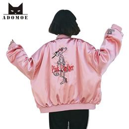 2019 giacca di raso rosa delle ragazze Primavera nuova moda coreana donne giacche di strada femminile autunno harajuku ragazza rosa pantera cartone animato ricamo giacca da baseball in raso y190827 giacca di raso rosa delle ragazze economici