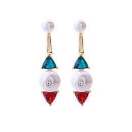 Puro set perla online-Slanw all'ingrosso Piccola geometria pura e fresca triangolo perla set orecchini di diamanti orecchini a goccia chiodo ctue femmina moda orecchini ed02107d