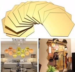 2019 banche di monete del cane di plastica 1 set di 12pcs Hexagon decorativo 3D acrilico specchio adesivi murali Soggiorno camera da letto Home Decor decorazione della stanza 8 * 4 cm