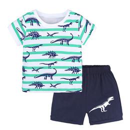 Argentina Conjuntos de ropa para niños pequeños 2018 Summer Boys Clothes Dinosaur T-shirt + Shorts 2pcs Outfits Kids Christmas Suit Children Costume supplier christmas short outfit Suministro