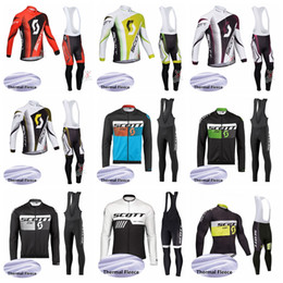 Pantalones de montaña de invierno online-SCOTT Cycling Winter Thermal Fleece jersey (bib) conjuntos de pantalones Mountain Self-Racing Team Pantalones manga larga opciones múltiples c1728