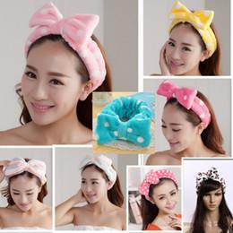arco de cabeça de toalha Desconto Big Bow Dot Listrado Macio Toalha de Cabelo Cabeça Envoltório Headband Bath Spa Make Up Feminino Veludo Bowknot Hairbands