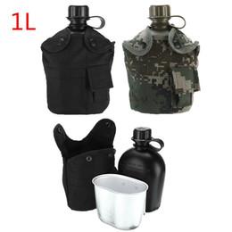 bottiglie d'acqua backpacking Sconti 1L bottiglia di acqua tattica all'aperto Bollitore per mensa d'acqua dell'esercito con tazza marsupio per campeggio escursionismo zaino Set di sopravvivenza