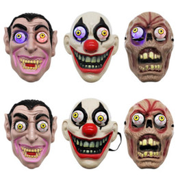 Volle led-maske online-LED-Licht Halloween Horror Maske für Clown Vampir-Augen-Schablonen Cosplay Thema Make-up Leistung Masquerade Full Face Mask Partei ZZA1144-