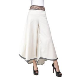 Ropa de lino blanco negro online-Pantalones de verano para mujer Pantalón de lino de algodón Parte inferior suelta Pantalón ancho Ropa de mujer Pantalon Femme Negro Blanco Elegante Pantalones de mujer