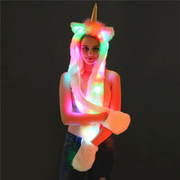 2021 vestire gli abiti del partito Led Light Up Cappello Unicorno Peluche Sciarpa in pelliccia sintetica Cappuccio per le donne Ragazze Costume Dress Up Outfit Forniture per feste di Natale di Halloween WX9-1541