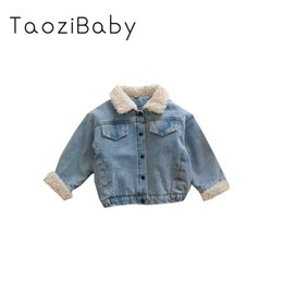 korean kids clothes down Promo Codes - Kids Coats 2019 Winter New Children's Clothing Girl's Jacket With Cotton Jeans Baby Korean Version Thickened Jeans