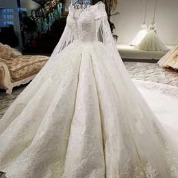 Vestido de novia Desmontable Largo Cabo Escote redondo con cordones Volver Color blanco Falda grande Nuevo Popular Imagen real 2019 desde fabricantes