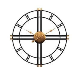 navires cloches Promotion 50 cm Rétro Fer Art Antiquing Muet Silencieux Horloges Murales Home Office Decor Horloge Silencieuse Quartz Suspendus Montre Horloge Murale Design Moderne