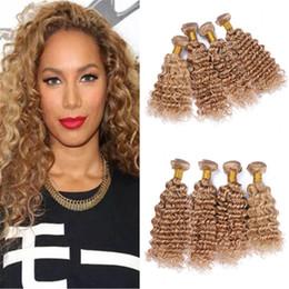 ofertas del pelo del paquete rubio Rebajas Strawberry Blonde Deep Curly Human Hair Weave 4 paquetes Ofertas Deep Wave 27 Extensiones de tramas de cabello virgen rubio miel 4 piezas Lote 400g