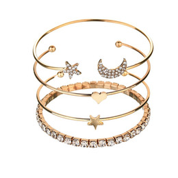Canada Europe United States New Fashion Popular Hot Rhinestones Stars Moon Five-pointed Star Heart Four-piece Bracelet Creative Women Jewelry Gift Offre