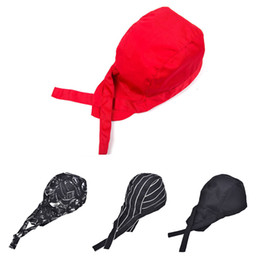 wholesale pirate skull caps Promo Codes - Newest Striped Pirate Ribbon Skull Cap Professional Kitchen Catering Cook Chef Hat