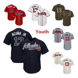 Wholesale Joven Niños Niño Atlanta Braves Camisetas de béisbol Ronald Acuna Jr Jersey Blanco Azul marino Crema Rojo Gris Gris Verde Saludo