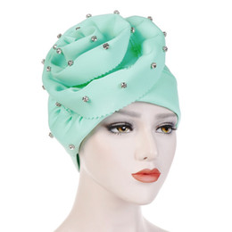 ladies muslim cap Coupons - NIBESSER Fashion Women New Style Ruffled Big Flower Scarf Cap Muslim Head Wrap Cap Chemo Turban Ladies Bandanas Hair Accessories