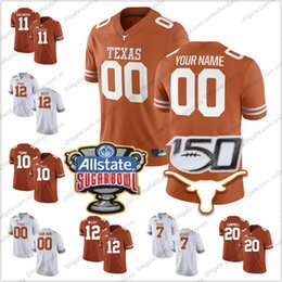Wholesale Personalizado Texas Longhorns Qualquer Nome Número TH Sugar Bowl Sam Ehlinger Colt McCoy Campbell Young College Football Jerseys S XL