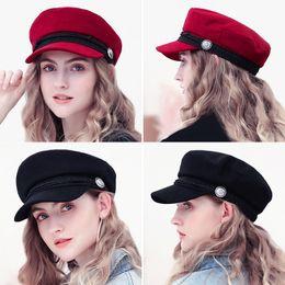 Berretti invernali Cappelli per donne Cappellino ottagonale Bottone in lana  Visiera con visiera Cappellini da baseball Donna Casual Streetwear Cappello  da ... 3cc410391b32