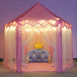 principessa teatro tenda Sconti Stock in USA Princess Castle Tenda da gioco per ragazze Grandi bambini Tende da gioco Hexagon Playhouse Giocattoli per bambini Giochi al coperto (rosa) Luce LED