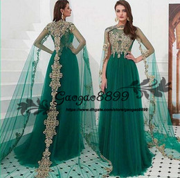 arabic dubai kaftan dress Coupons - Moroccan Kaftan Evening Dresses Dubai Abaya Arabic Long wrap gold lace applique illusion tulle jewel Neck special Occasion Prom Formal Gowns