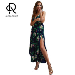 0bf4fd35267 Alcea Rosea Sexy Floral Print Jumpsuits Women V-neck Split Strap Flare Lady  Romper Summer Beach Loose Female Jumpsuit AR2061