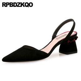 Bloco robusto sapatos de salto alto para as mulheres da moda camurça 2018 médio dedo apontado sandálias tira verão preto tamanho 4 34 slingback coreano de