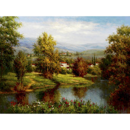 Casa de pinturas a óleo on-line-Pintados à mão belas pinturas a óleo Villa no rio banco paisagens obras de arte para sala de estar