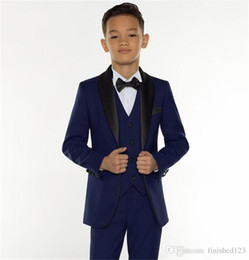 boys suits pink color Promo Codes - Fashion Navy Blue Kids Formal Wear Suit Children Attire Wedding Blazer Boy Birthday Party Business Suit (Jacket+Pants+Vest)