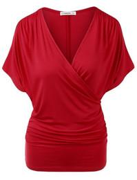 Más el palo del tamaño t shirts online-Camiseta de mujer Moda Casual Sexy Bata con cuello en V Camiseta de manga corta Camisa de gran tamaño Nueva llegada 2019 Camiseta de mujer Top Plus Size S-2XL