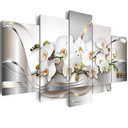 framed white floral paintings Coupons - Canvas Wall Art Butterfly Orchid Flowers Painting White Floral Prints Picture Home Living Room Decor Framed Art 5 Pieces