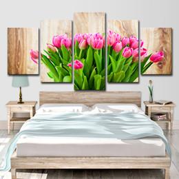 2019 manifesti fiore rosa Immagine della parete HD Stampa Pink Flower Tulip 5 pezzi Panel Art Canvas Painting for Living Room Decoration Poster Pittura ad olio manifesti fiore rosa economici