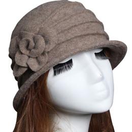 2019 green fedoras Модные женские шерстяные дискеты Fedora Hat с цветочным декором Осень Зима Тёплая теплая мама Cap NYZ Shop