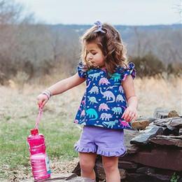 boutique animal do bebê da cópia Desconto Crianças de verão Conjunto de Roupas Meninas Pétala Manga arco t shirt Vestido + Shorts 2 Peça Roupas de Bebê Dinossauro Impressão Moda Outfits Boutique C71907