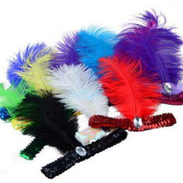 Penas de avestruz para fitas on-line-Pena Headband 1920 Flapper Lantejoula Charleston Traje Headband Do Partido Do Avestruz Pena Cocar Headband Da Pena das Mulheres Flapper Brilhante