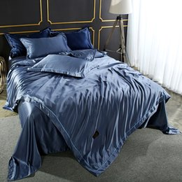 Conjunto de cama Consolador De Seda Capa de Edredão Colcha De Cetim de Seda De Linho Folha de Cama Dupla Azul Rainha Rei Bedclothes40 de