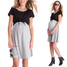 Enfermeras negras online-Moda 2019 ropa de maternidad de enfermería vestido de algodón vestidos de mamá Vestido de enfermería de manga corta Homewear Negro gris Verano Al por mayor