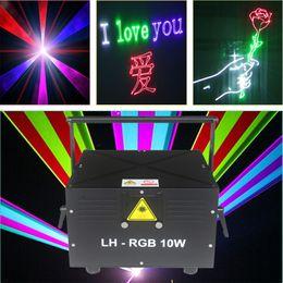 Dj scanners de iluminação on-line-Frete grátis 10W RGB projetor do scanner laser da animação ILDA DMX bar de dança palco Xmas Festa Disco DJ efeito de luz luzes Mostrar sistema