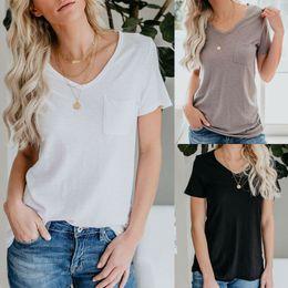 Camicette semplici online-Maglietta girocollo a manica lunga con taschino a maniche corte per donna